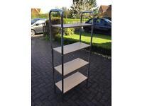 Tubular metal framed 4 wood shelf unit