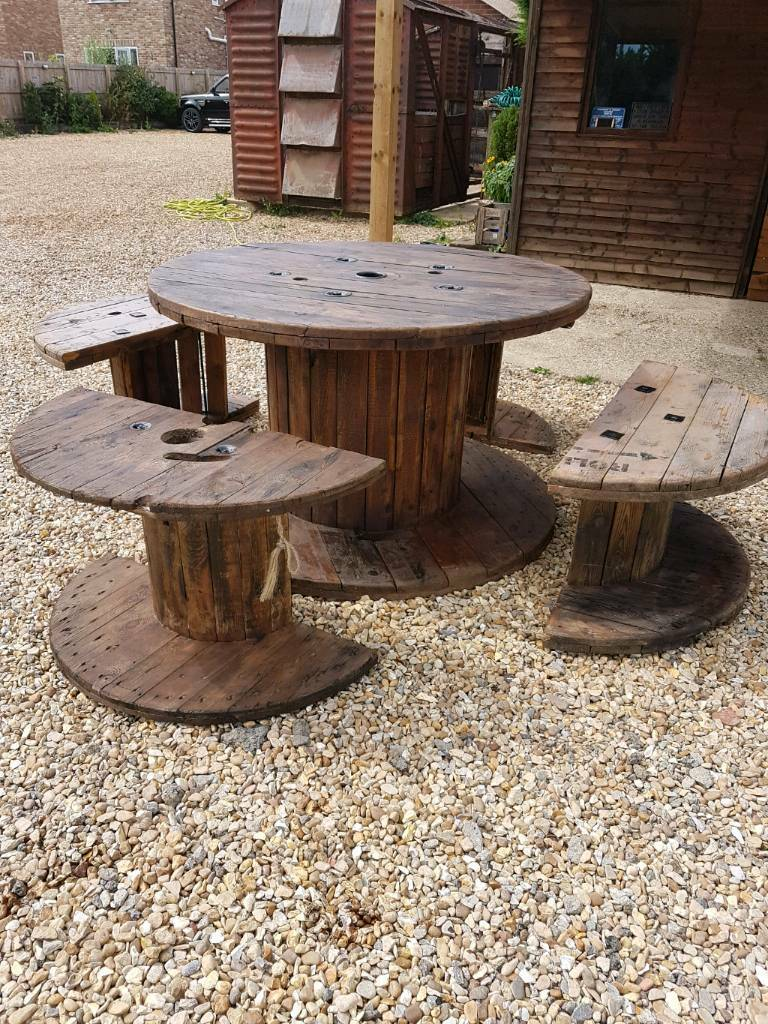 Garden table furniture outdoor cable reel table and chairs for 12 seater wooden outdoor table