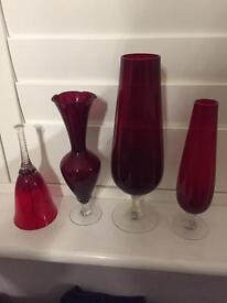 Retro 70's collectible ruby red vases & glass bell