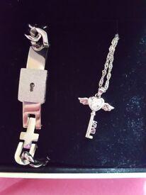 Womens necklace & mens bracelet set