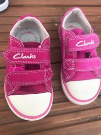 Clark's girls pink plimsoles baby size 4.5