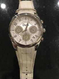 D&G Ladies Silver Watch with White Leather Strap