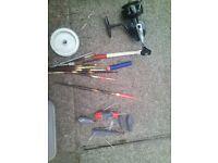 fishing items , reel, weights, floats, hooks, etc, waterproofs, open to offers