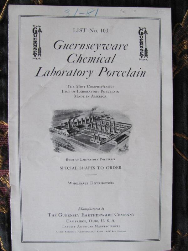 Guernseyware Earthenware Chemical Laboratory Porcelain Catalog CAMBRIDGE OHIO
