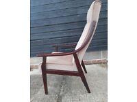 Vintage retro mid century bentwood pink velvet armchair lounge chair 60s 70s