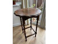 Vintage dark oak lamp / plant table