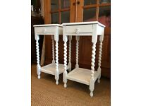 VINTAGE PAINTED CHALK WHITE 1930'S BEDSIDE TABLES