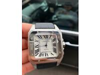 MENS CARTIER XL FULL AUTOMATIC WATCH - BLACK LEATHER - BRAND NEW