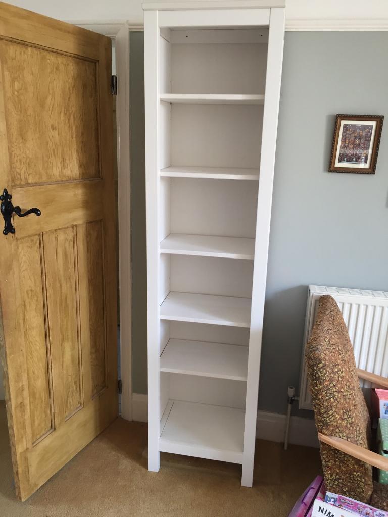 Tall Narrow White Ikea Hemnes Bookcase Good Condition