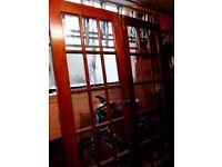 Pair of internal hardwood glazed panelled doors