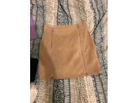 Suede zip up skirt