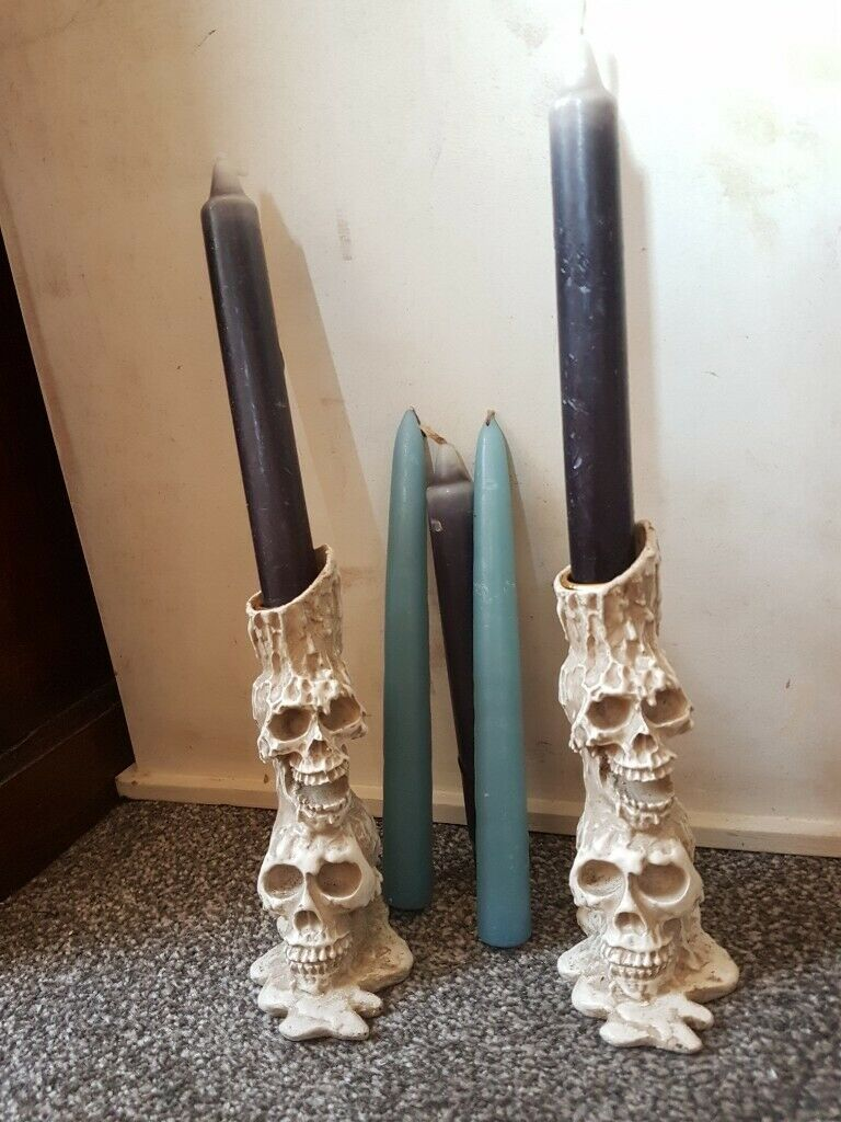 2x White Skull Candle Holders Candle Sticks In Middlesbrough North Yorkshire Gumtree