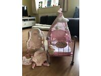 Baby Annabell crib, bouncy chair and carrier