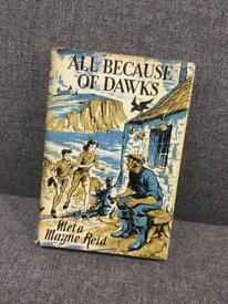 Vintage hardback children's book with dust cover All Because of Dawks by Meta Mayne Reid SDHC