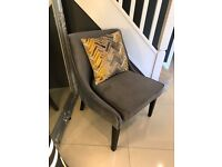 Bespoke Designer Charcoal Dark Grey Velvet Occasional Chair Armchair Show Home Chairs RRP £399.95