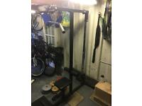 Gym lat machine and weights