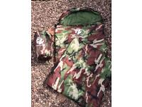 2 x sleeping bags, army camouflage for camping