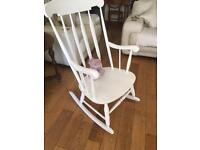 A SUPER SHABBY CHIC ROCKING CHAIR WITH FLAT SPINDLES FOR ADDED COMFORT IDEAL FOR THE NURSERY
