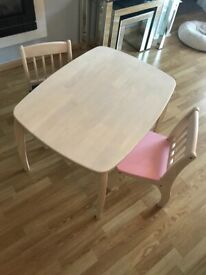 Children's Wooden table and 2 chairs- John Crane Pin Furniture