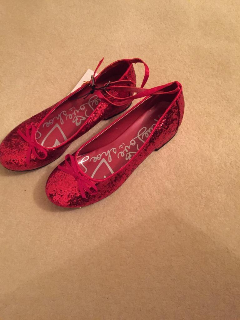 Ladies/girls Red sparkly glitter shoes size 6 (39)