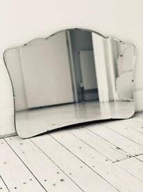 Extra large vintage antique mantle frameless bevelled mirror Art Deco mid century