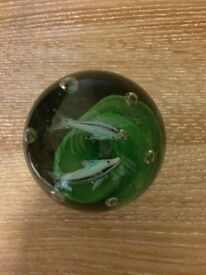 Medium Glass Paperweight with fish inside