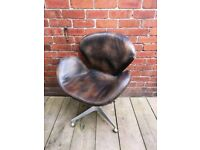 Brown Leather Swivel Chair. Retro, Vintage Atomic Style.