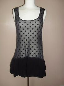 BNWT Miss Selfridge Strappy Sheer Top/Mini-Dress RRP £32 - Size 10 - Westbourne