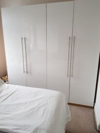 Hygena Atlas 2-door white gloss wardrobe (3 items for sale) and matching drawers (2 items for sale)