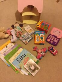 Toddler toy, book and game bundle.
