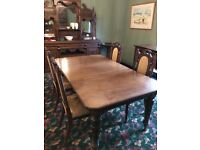 Mahogany antique table with 4 matching chairs