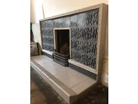 1930-40s Art Deco tiled fireplace suite