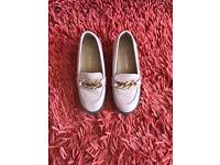 Girls patent block heels