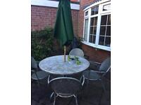 Garden table and chairs - metal