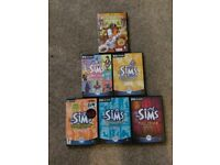 6 Extension packs for SIMS with booklets. good cond. and Restaurant Empire.