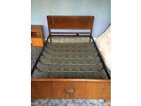 Vintage double wooden / spring bed frame retro