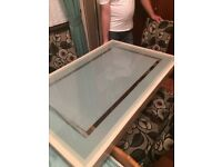 Maple glass top table and 4 chairs