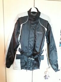 Weise motorbike waterproof jacket size S small with internal pockets for armour black grey
