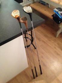 3 wooden drivers golf clubs set antique sport set