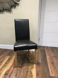 Brown leather dining chairs x4