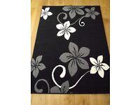 black grey cream large rug