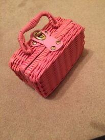 Childrens china tea set in pink basket