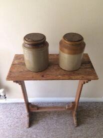 Salt glazed storage jars