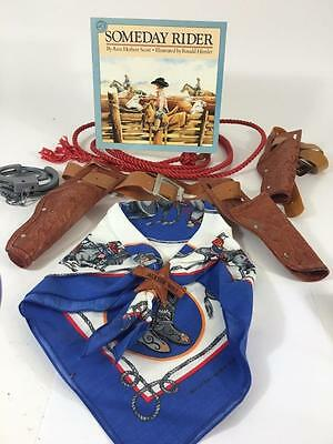 Cowboy Western Kids Vtg Lot 6 Costume Halloween Jackson Hole Scarf Book Holster