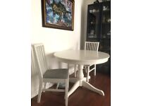White Extendable Dining Table & 2 Chairs for Sale