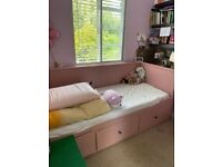 HEMNES Day-bed frame with 3 drawers, pink 80x200 cm