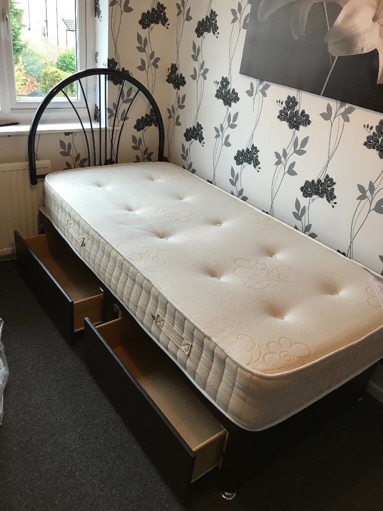 Single bed and mattress with faux leather base storage underneath and head board