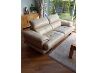 3 Seater Leather Sofa and Swivel / Snuggle Chair