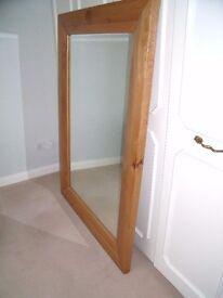 Large oak framed wall mirror