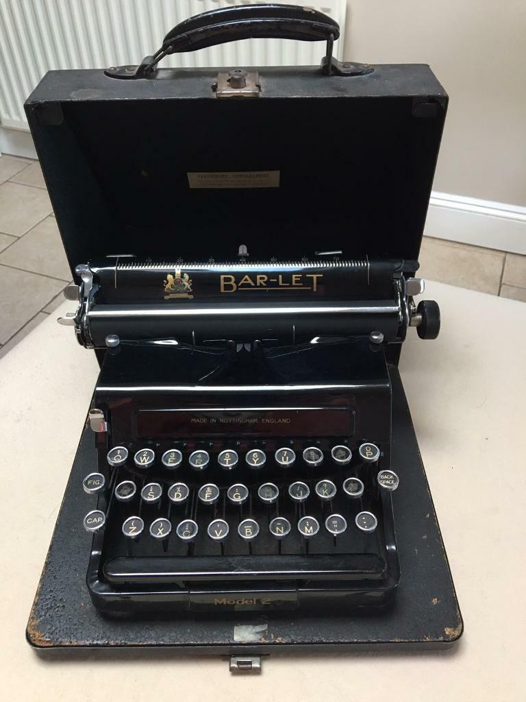 Bar Let Model 2 Portable Antique Typewriter Collectors
